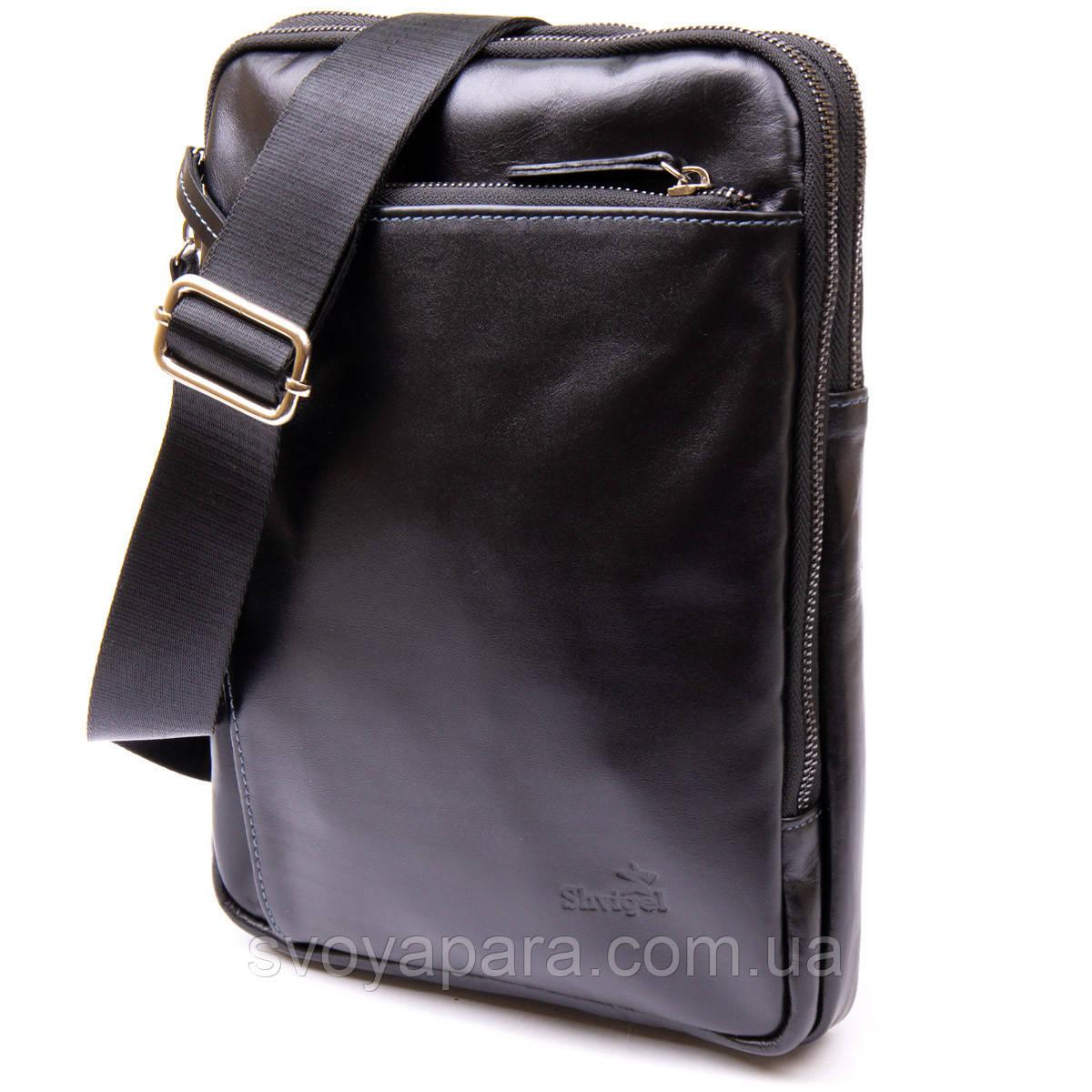 Чоловіча сумка планшет з накладною кишенею на блискавці гладкій шкірі 11281 SHVIGEL, Чорна