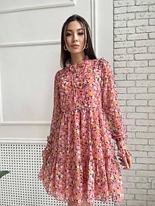Женское платье в цветочный принт Персиковое