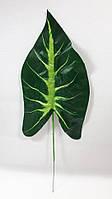 Большой искусственный лист каладиума,зеленый ,40см, фото 1