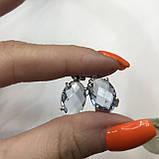 Аквамарин ніжні маленькі сережки з аквамарином в сріблі. Індія, фото 4