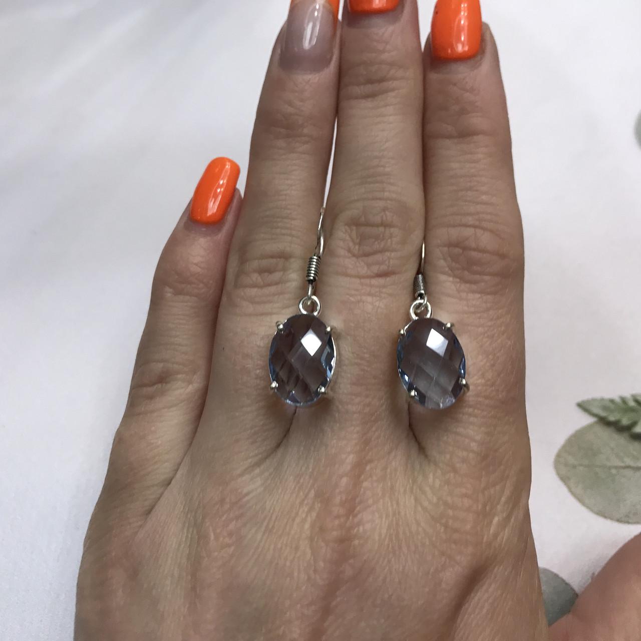 Аквамарин ніжні маленькі сережки з аквамарином в сріблі. Індія