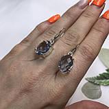 Аквамарин ніжні маленькі сережки з аквамарином в сріблі. Індія, фото 5