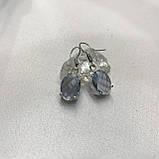 Аквамарин ніжні маленькі сережки з аквамарином в сріблі. Індія, фото 3