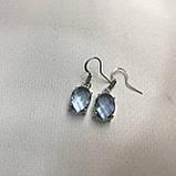 Аквамарин ніжні маленькі сережки з аквамарином в сріблі. Індія, фото 6