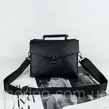 Мужская кожаная сумка портфель на и через плечо H.T. Leather черная