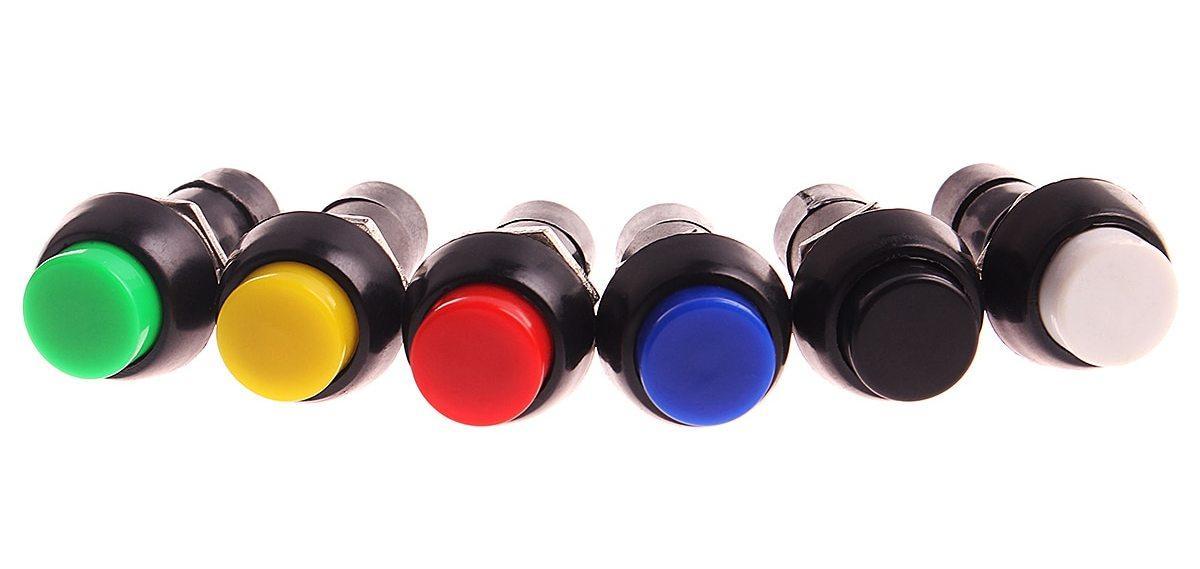 Кнопка нажимная с фиксацией 250 Вт, 1 А, PBS11A 2 контактов