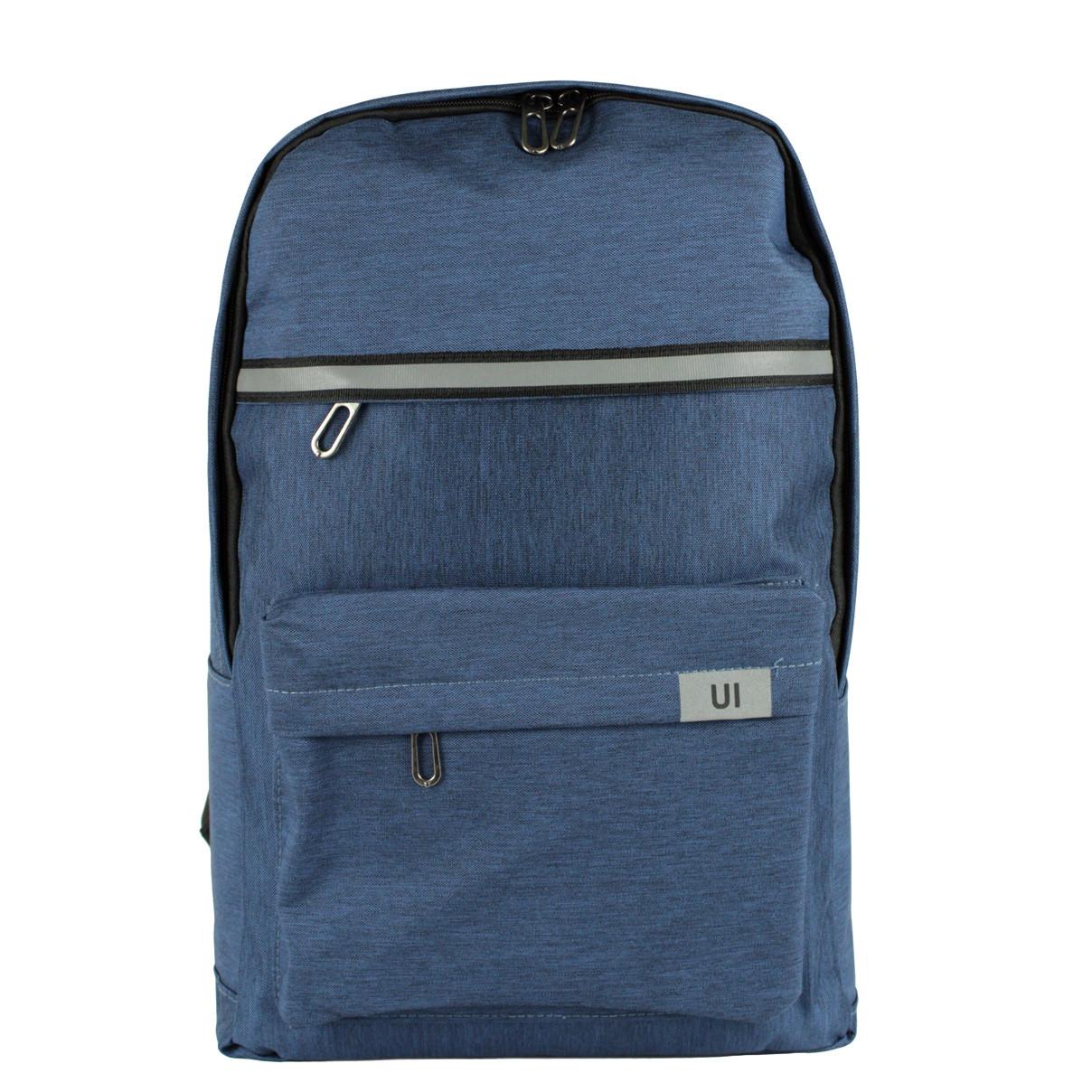 Рюкзак міський UI синій з світловідбивачем тканинний