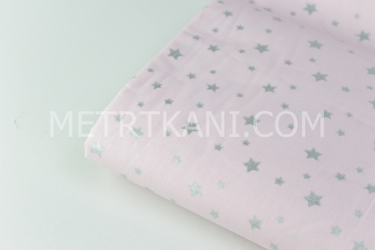 """Клаптик. Тканина ранфорс Туреччина """"Зорепад"""" (гліттер) срібло на світло-рожевому 97*240 см"""