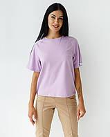 Жіноча медична футболка-реглан, лавандова, фото 1