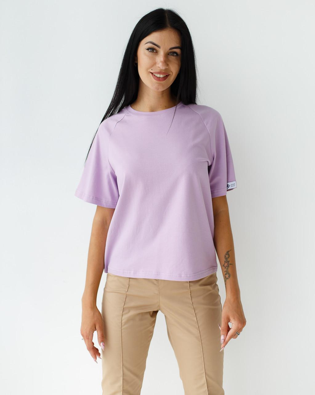 Жіноча медична футболка-реглан, лавандова