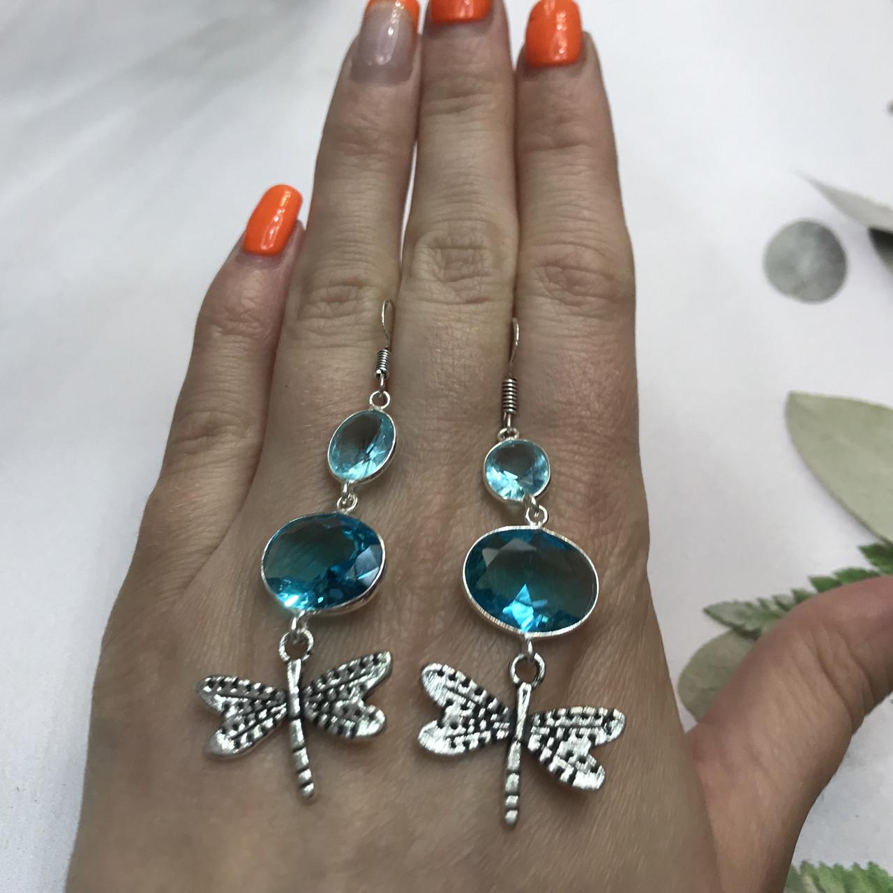 Аквамарин сережки з аквамарином в сріблі. Індія