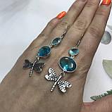 Аквамарин сережки з аквамарином в сріблі. Індія, фото 4
