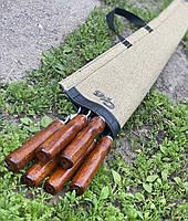 Набор шампуров с деревянной ручкой нержавеющая сталь в чехле (6 шт.)