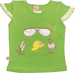 Детская футболка на девочку рост 92 1,5-2 года для малышей красивая стильная нарядная трикотажная салатовая