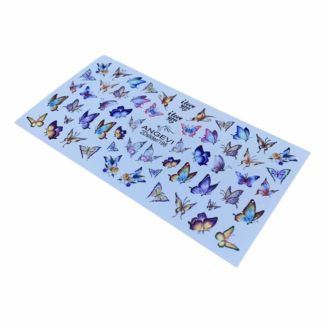 Слайдер-дизайн Бабочки для ногтей ANGEVI 2Dslider №186