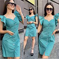 Платье летнее женское коттоновое в горошек Зеленый