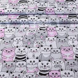 Тканина полікотон з рожевими котами в кіно, ширина 220 см