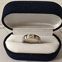 Кольцо Cartier 10S, Love, 3 камня, Белое Золото