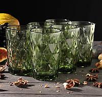 Набор стаканов «Круиз», 350 мл, 8х7х12,5 см, 6 шт, цвет зелёный