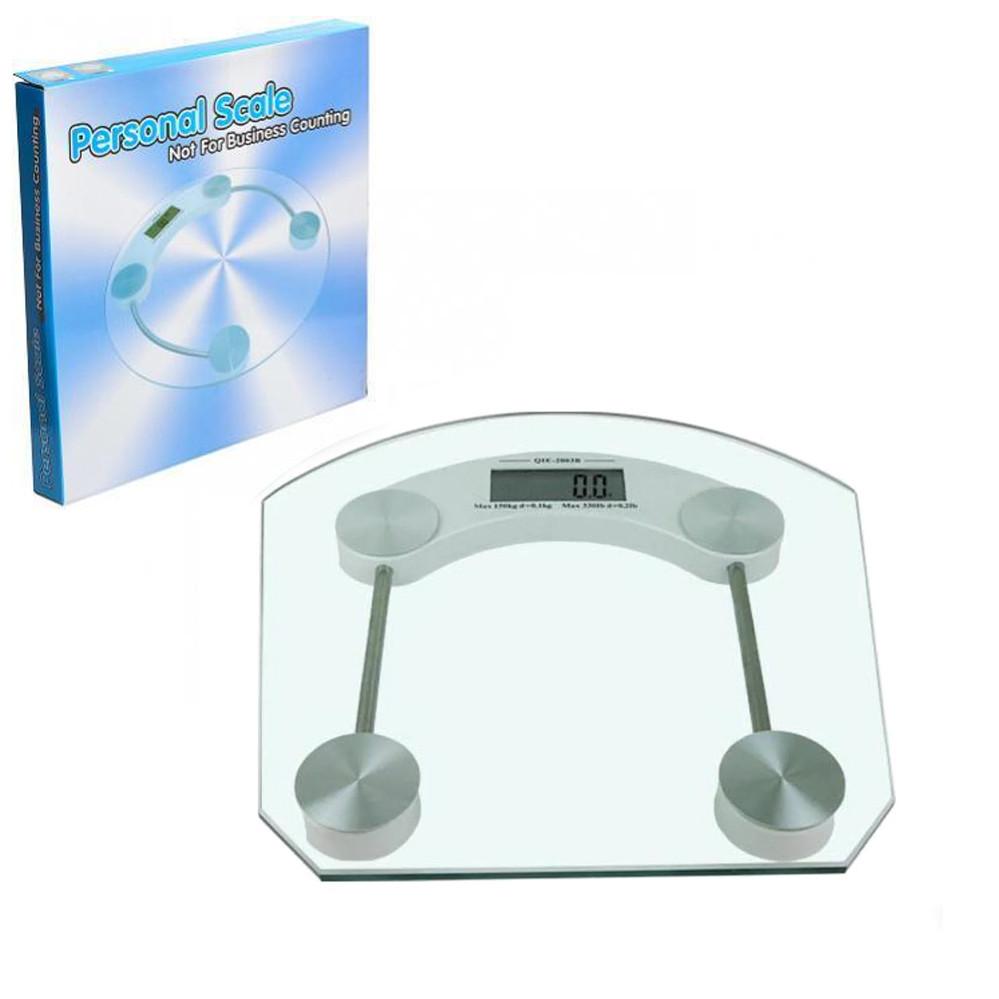 Ваги електронні підлогові портативні Personal Scale 2003B Квадратні прозорі з РК дисплеєм