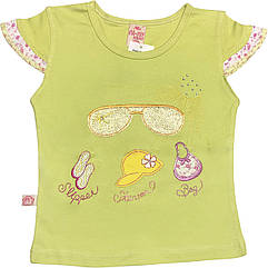 Дитяча футболка на дівчинку ріст 92 1,5-2 роки для малюків красива стильна ошатна трикотажна гірчична