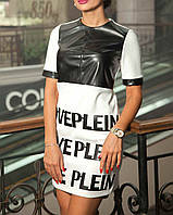 Платье с вставкой из экокожи | Шер Ами lzn белый