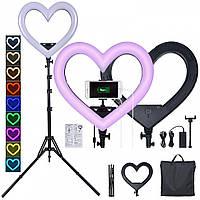 Кольцевая лампа сердце 45 см + сумка + пульт + держатель для телефона