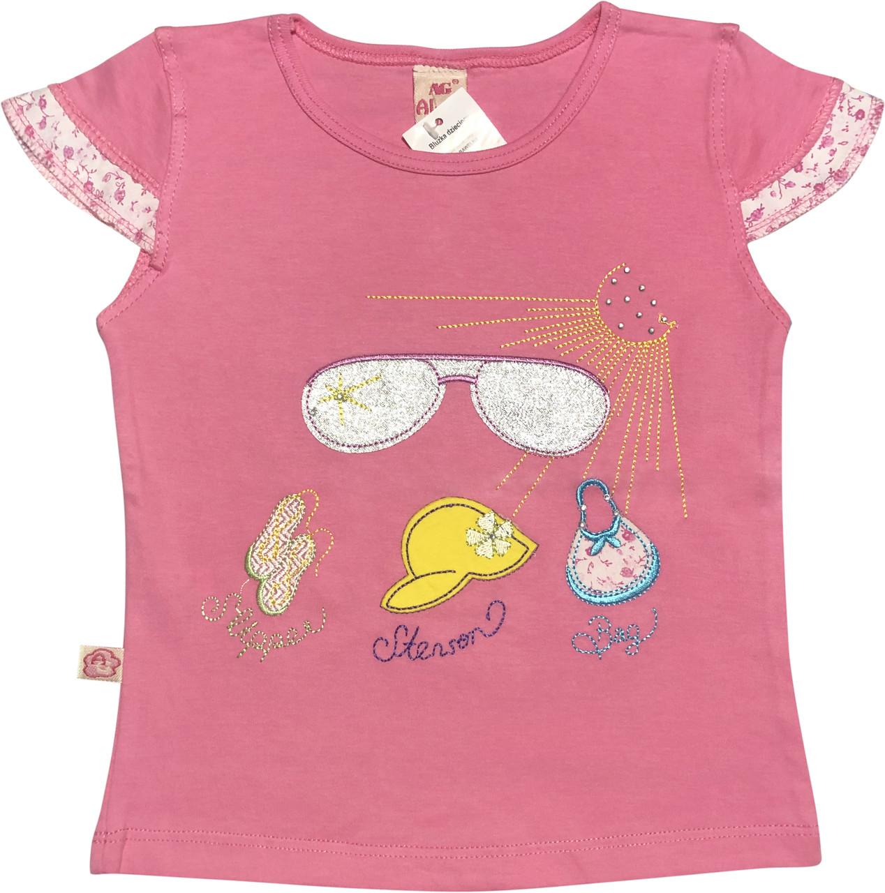 Дитяча футболка на дівчинку ріст 104 3-4 роки для дітей красива стильна ошатна трикотажна рожева