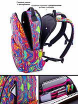 Рюкзак шкільний для дівчинки підлітка на 2 відділу молодіжний Абстрактний принт SkyName 77-01, фото 2