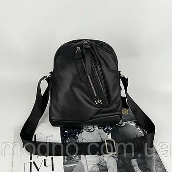 Чоловіча шкіряна сумка на та через плече H. T. Leather чорна