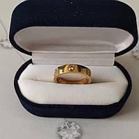 Кольцо Cartier 10S, Love, 3 камня, Желтое Золото