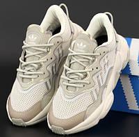 Женские кроссовки Adidas Ozweego весна-осень демисезонные рефлективные бежевые. Фото в живую. Реплика