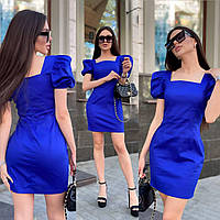 Платье летнее женское коттоновое мини синие