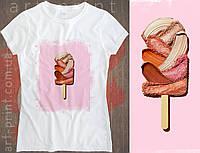 Футболка біла жіноча з принтом Painted Ice Cream, фото 1