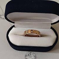 Кольцо Cartier 11S, Love, 3 камня, Розовое Золото