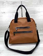 Вместительная женская сумка с ремешком Aliri-620-02 коричневая