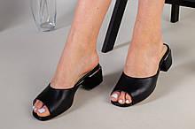 Шлепанцы женские кожаные черного цвета, каблук 4 см