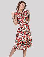 Ніжне жіноче плаття в принтованые червоні троянди з рюшами