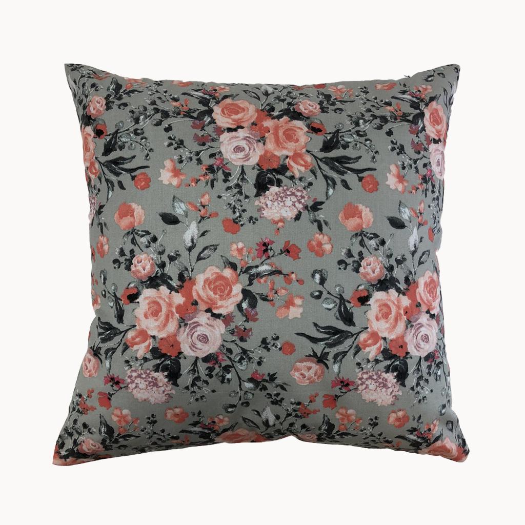 Подушка, 40*40 см, (бавовна), (рожево-коралові букетики на сірому)