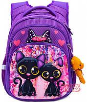 Школьный рюкзак для девочки в 1-4 класс ортопедический коты SkyName R3-240, фото 3