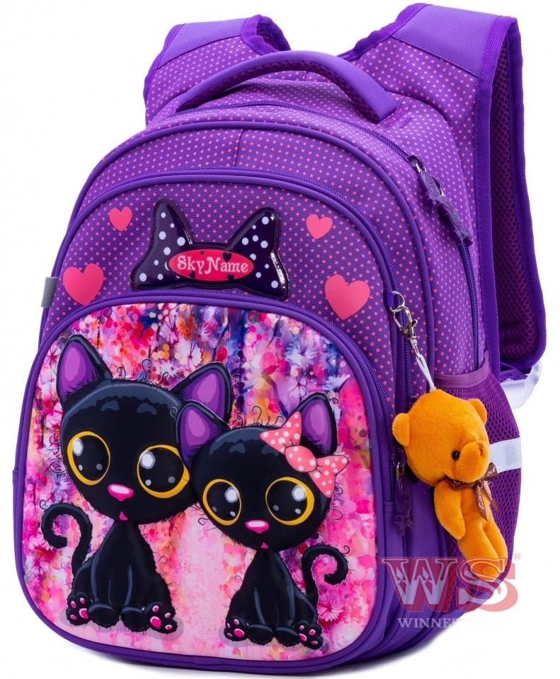 Школьный рюкзак для девочки в 1-4 класс ортопедический коты SkyName R3-240