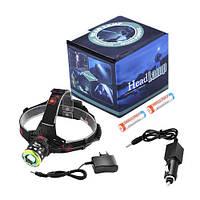 Налобный фонарь T105-T6+COB, ЗУ 220V/12V, 2x18650, zoom