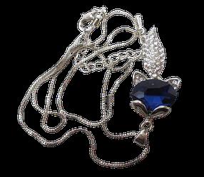 Кулон з ланцюжком Лисичка з синім каменем і стразами