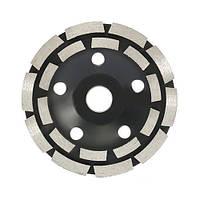 Шлифовальный двухрядный алмазный круг, 125мм, чашечный, по камню