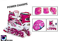 Комплект детских роликов Power Champs Pink 29-33 34-37