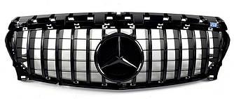 Решетка радиатора Mercedes CLA C117 (16-19) стиль GT Panamericana (черная)