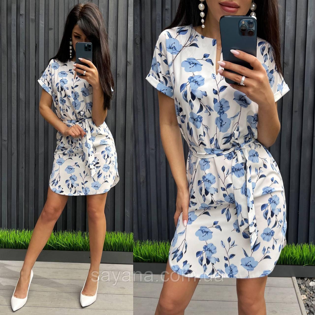 Жіноче літнє плаття з квітковим принтом, в кольорах. БЛ-1-0621