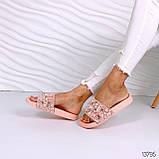 Женские пляжные шлепки с бусинками золотые розовые белые, фото 4