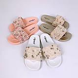 Женские пляжные шлепки с бусинками золотые розовые белые, фото 8