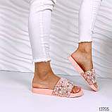 Женские пляжные шлепки с бусинками золотые розовые белые, фото 7